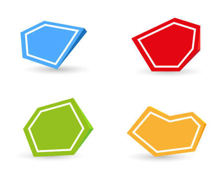 Set of four color empty icons with shadow on white background
