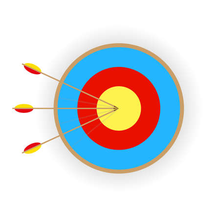 target with three arrows with shadow on white background