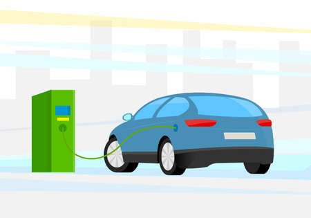 Vector illustration. Electric car charging at charge station. City building in the Background
