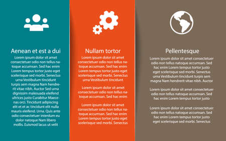 Infographic template with place for text and three color part and icons Illustration