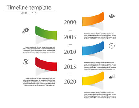 Vector illustration. Timeline template date from 2000 to 2020. Five color pieces of paper with shadow. Icons and place for your text.