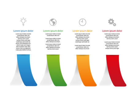 Vector graphic with four bent colored paper strips with shadow. Top place for text and simple icons. Çizim