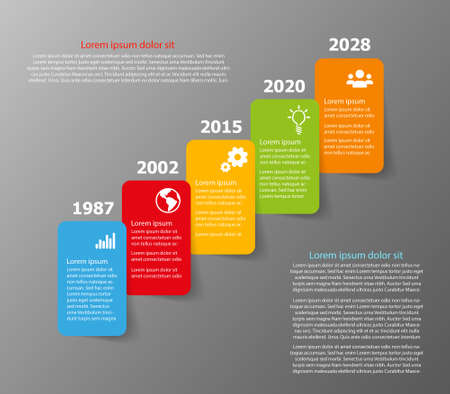 Vector Company Timeline milestone template with five color boxes with place for our text Illustration