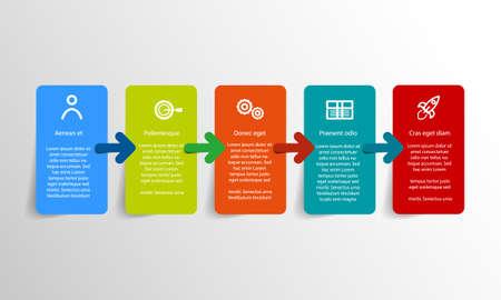 Conception d'étiquettes d'infographie vectorielle avec 5 icônes de couleur pour la présentation de votre entreprise, le flux de travail, la mise en page