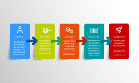 Vector Infographic label design with 5 color icons for your business presentation, workflow, layout