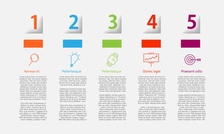 5 steps Infographic template with milimal thinline icons. Can be used for your presentation, web page, layout and more