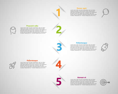 5 steps infographic template with minimalism style. Can be use for your presentation, meating, banners. Vector graphic.