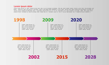 Vector Timeline milestone template with easy line icons - Vector