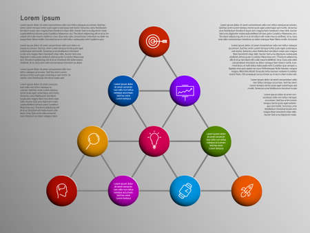 Vector Business Infographic structure with minimalistic circle color icons connection on line. Vector graphic on gray background.