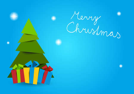 Christmas tree with gifts with text merry christmas christmas and place for your content - Vector graphic