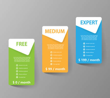 Product and services three price choice banners - Vector on gray background