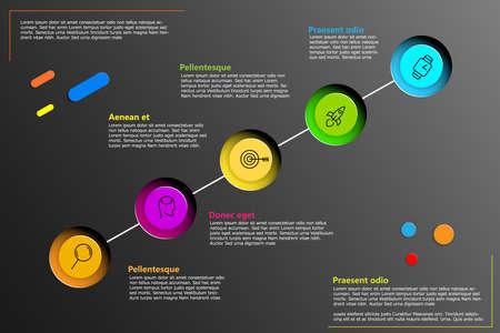 Vektor-Infografik-Linie mit Platz für Ihren Text. Kann für Ihre Präsentation, Ihr Geschäft oder Ihre Arbeit auf dunkelgrauem Hintergrund verwendet werden