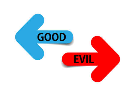Two color arrows with text good and evil on white background