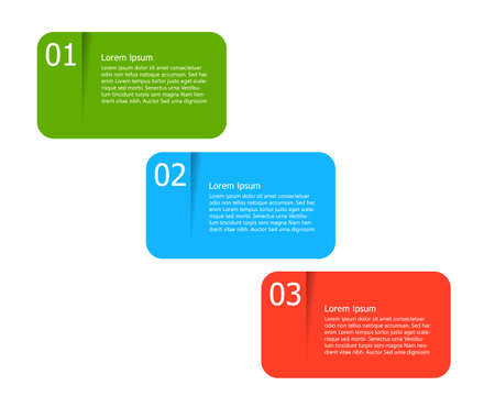Set 3 color banners with numbers and space for text or content Vektorgrafik