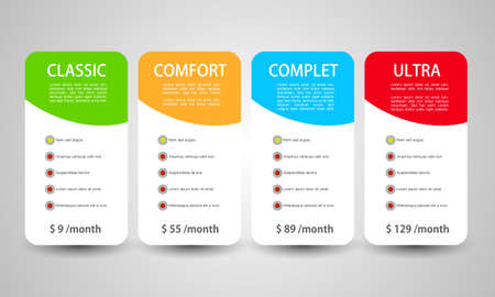Product and Services prices month price banners - Vector illustration template