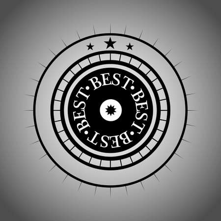 Vector Badge with text Best on gray and white background. Vector best illustration.