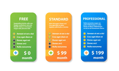 Product and services three price variation banners - Vector graphic