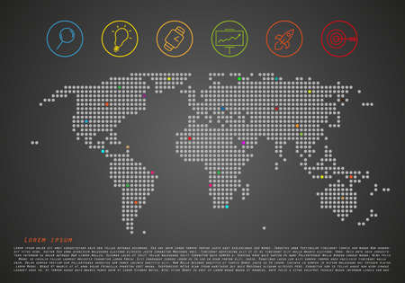 World doted map with icons and points and place for your text - vector technology graphic
