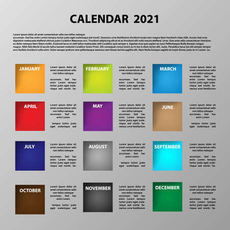 Calendar 2021 vector graphic with color icons with months name and place for text - Vector Ilustración de vector
