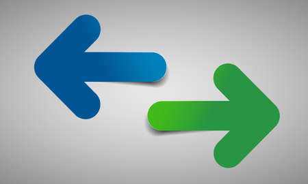 Two color arrows with shadow- vector