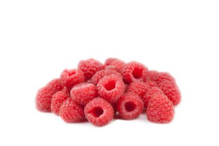 Heap of raspberrys, isolated on white background Stock Photo