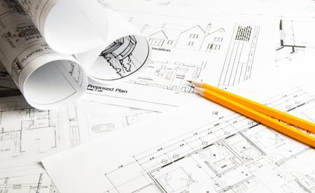 Construction planning drawings on the table and two yellow pencils Stockfoto