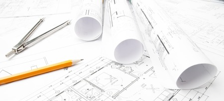 Construction planning drawings on the table and two yellow pencils Banque d'images
