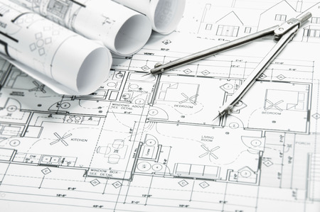architectural plan: Construction planning drawings on the table and two yellow pencils Stock Photo
