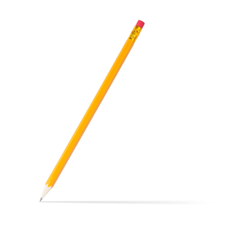 sharpened: sharpened wooden pencil with shadow, on white background Stock Photo