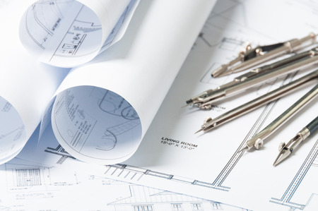 Drawing and architectural instruments on the engineering blue prints Standard-Bild