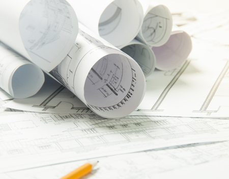 blue prints: Drawing and architectural instruments on the engineering blue prints Stock Photo