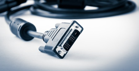 black  dvi cable isolated on white background Standard-Bild