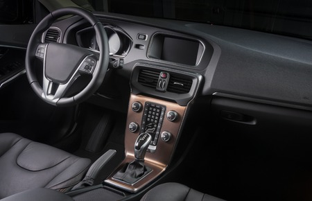 contemporary interior: Interior of a modern automobile showing the dashboard