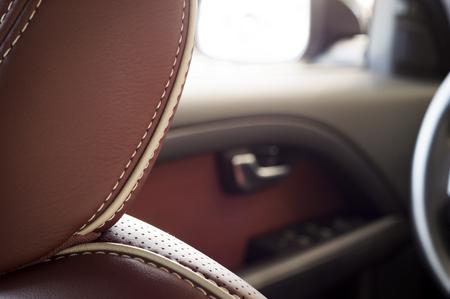 headrest: Brown red leather headrest new sport car seat, headrest focus
