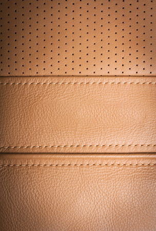 brown leather texture: Brown leather sample with  brown stitches, leather texture background Stock Photo