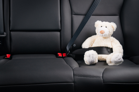 Teddybär auf dem Rücksitz eines Autos, die Sicherheit auf der Straße befestigt Standard-Bild - 47682109