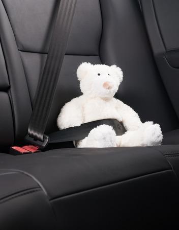 the seat: Oso de peluche fija en el asiento trasero de un coche, la seguridad en la carretera Foto de archivo