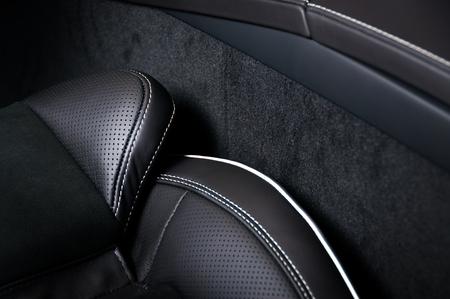 Leather car seats. Interior detail. Seam focused