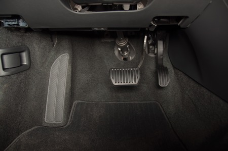 Brake and accelerator pedal of automatic transmission car Stok Fotoğraf