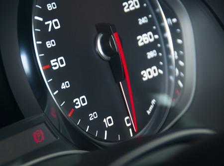 rev: Car speedometr, black and chrome, soft light Stock Photo