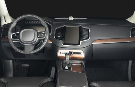 palanca: coches de lujo oscuro Inter - volante, palanca de cambios y el salpicadero