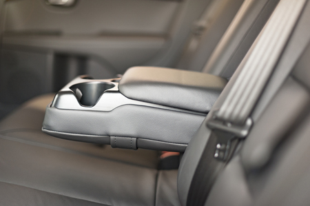 Modern Car Interior. Black Leather. Brand New Car Interior. Standard-Bild