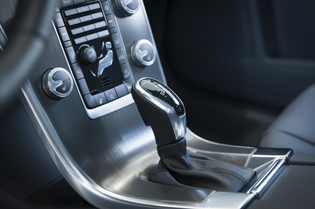 gearshift: Gearshift detail in a modern car interior