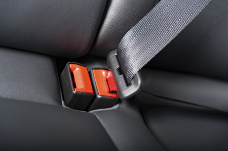 seat belt on a leather chair in modern car interior Stock Photo