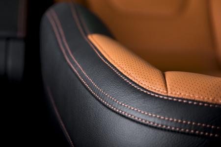Modern sport car  black leather interior. Part of  leather car seat details. Archivio Fotografico