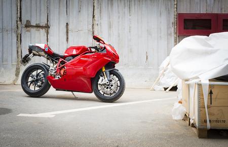 superbike: Saint-Petersburg, Russia - July 06, 2017: Ducati Superbike 999s Testastretta in Sankt-Petersburg at july 06 2017