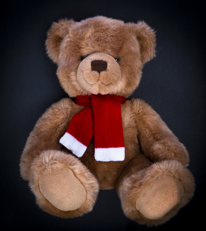 A curious, peering Teddy bear on a dark background