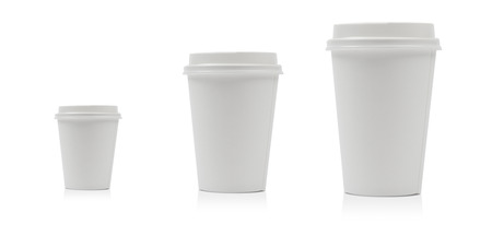 Takeaway paper coffee cup different size isolated on white background including clipping path. Archivio Fotografico