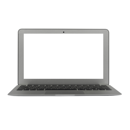Modern silver laptop isolated on white background including clipping path