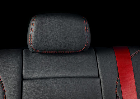 Modern luxury race car black leather with red stitch interior interior Archivio Fotografico